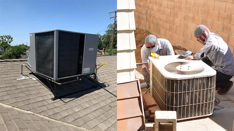 Air Conditioner Technicians Repairing an AC Unit