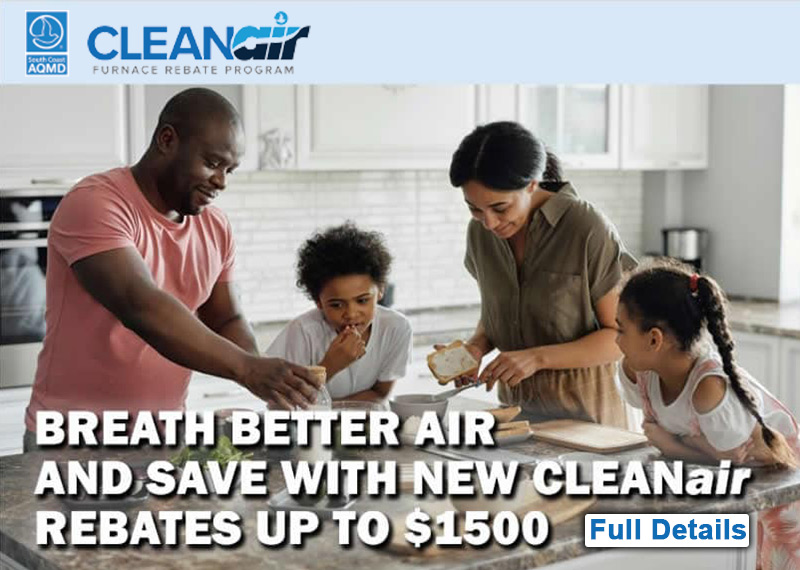 AQMD Clean Air Energy Rebates and Incentives Programs for New Energy Efficient AC HVAC Installations
