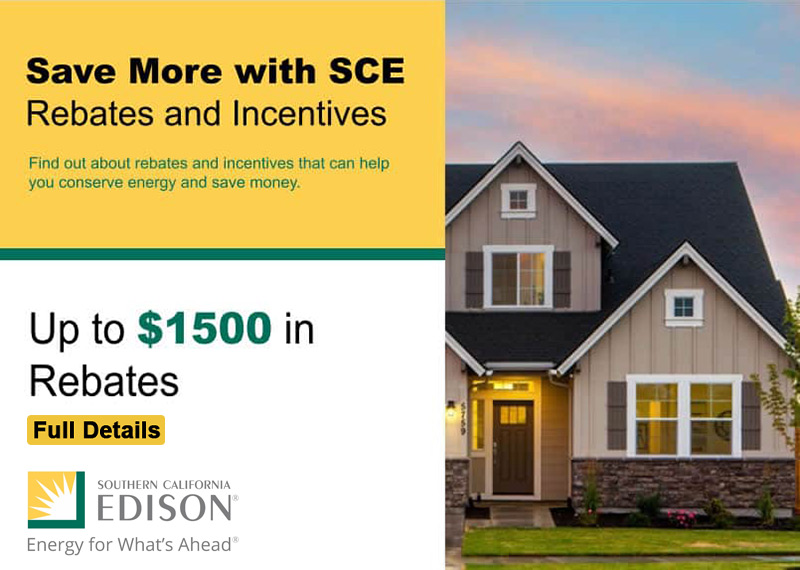 Southern California SCE Energy Rebates and Incentives Programs for New Energy Efficient AC HVAC Installations