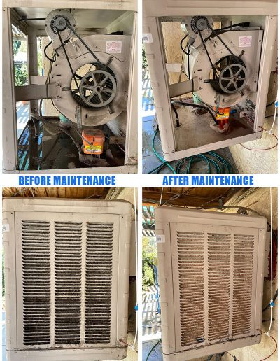 Before and after photo of an Evaporative Cooler before and after maintenance